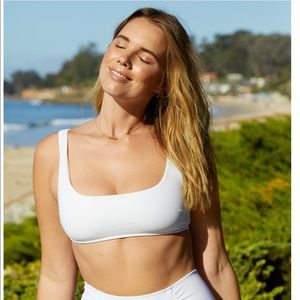 White scoop neck Aerie bathing suit top